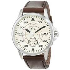 Hugo Boss Men's Watch Pilot Aviator Beige Dial Brown Leather Strap 1513516