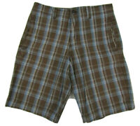 "MOSSIMO SUPPLY CO. Flat Front Plaid Brown Shorts Mens W30 Inseam 10"" 100% Cotton"