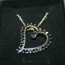 1 Carat Natural Black Diamond Heart Pendant Necklace White 14k Gold over 925 SS