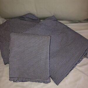 Ralph Lauren 3pc Blue White Gingham Check Twin Sheet Set Flat Fitted PillowCase