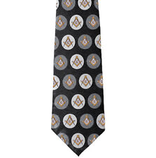 Freemason's Tie - Black and Gray Polyester long tie with polka dot pattern