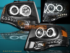 2007-2013 FORD EXPEDITION TWO HALO LED PROJECTOR HEADLIGHTS CCFL BLACK