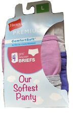 Hanes Premium Girls 4 Pack Comfort Soft Tagless Briefs Size Large 10-12 (5770)
