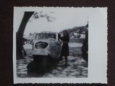 PRETTY YOUNG LADY STANDING NEXT TO THREE WHEEL CAR IN MANILA Vtg 1940's PHOTO