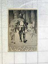 1921 Dorking Antique Dealer Dressed In Suit Of Armour Walking 2 Little Girls