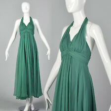 XXS 1970s Green Halter Dress VTG Theatre Costume  Long Halloween Party Dress