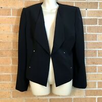 Tahari Arthur Levine Size 14 Career Blazer Jacket Black Lined Wrist Zippers -G1