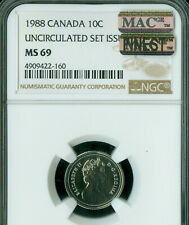 1988 CANADA 10 CENTS NGC MS-69 PQ MAC FINEST GRADE MAC SPOTLESS  *