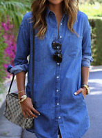 Womens Turndown Denim Look Long Sleeve Casual Long Tops Shirt Jeans Short Dress