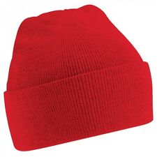 Kids Unisex Red Cuffed Soft Feel Wooly Hat - Winter, Autumn, Warm, Rain, Wind