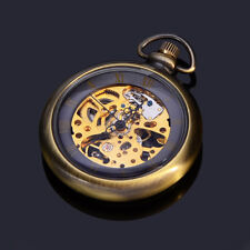 Copper Mens Mechanical Hand Winding Skeleton Analog Pocket Watch with Chain