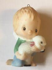 "Hallmark Cards Angel Lamb 1985 Christmas Ornament Fine Porcelain Betsey Clark 3"""