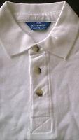 Mens Rivermead plain white casual polo t shirt, short sleeve, Size Small NEW