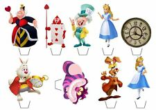 18 Alice in Wonderland **WAFER** Cupcake Toppers Standups