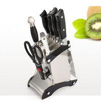 Multi-Slots Knife Block Stainless Steel Acrylic Knife Holder Rack Tilt Organizer