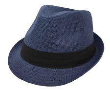 Hatter Men's Straw Fedora Navy Blue With Black Band 62cm 2xl
