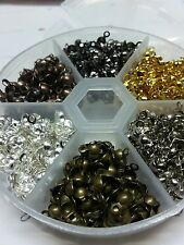 Iron Crimp Bead Tips Knot Covers finding 8x4mm mixed color 700+pc in storage box