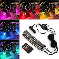 4PCS 12 LED Car Interior Atmosphere Neon Lights Strip Music Control + IR Remote