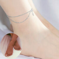 Gold /Silver Stainless Steel Double Layer Charm Anklet Foot Ankle Chain Bracelet