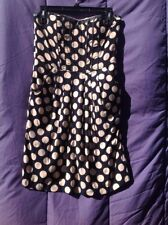 Women's No Name Polka Dot Navy With Faux Leather Trim Tube Top Dress Size M