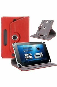 """Red 360° Folio Leather Case Cover Stand For Android Tablet PC 7"""" 8"""" 9"""" 10""""10.1"""