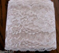 "Lace trim #444 Raschel 4"" flat NATURAL polyester scalloped edge 15 1/8 yd.bag"