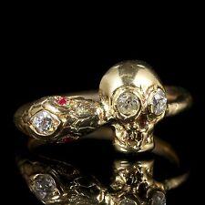 MOMENTO MORI DIAMOND SKULL SNAKE RING 18CT GOLD