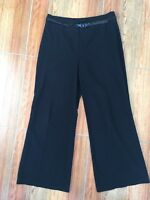 M&S Black Wide Leg Work Trousers Size 14 Medium Office Medium-Heavy Fabric
