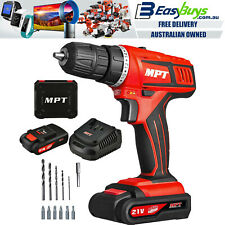 MPT Cordless Power Drill Driver 21V 2 Gear & 2 Liion Batteries & Charger Kit Set
