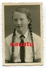 Foto Portrait Junges Mädchen Maid Bdm mit Zöpfen