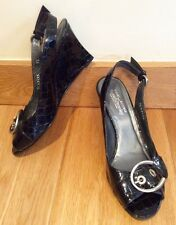 STEWART WEITZMAN RUSSELL BROMLEY SIZE SW 7.5 UK 5.5 BLACK LEATHER  WEDGES