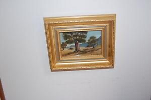 "Original miniature oil painting on board ""Australian Bush"" by Neil Holland 1985."