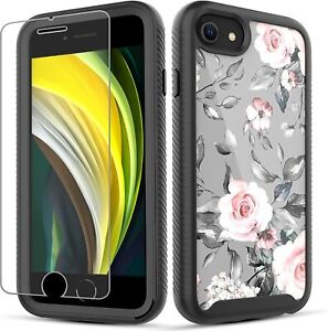 iPhone SE 2020 Case, Full-Body Shockproof Hybrid Case + Screen Protector