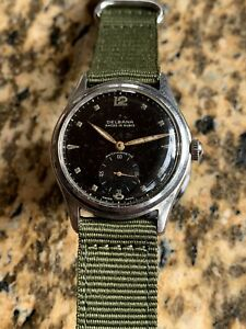 1940/50s Delbana Military Style Mens Watch Steel Case 33,7mm