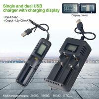 1/2 Slots USB Charger LCD Display Li-ion AA AAA 18650 26650 Battery Universal