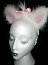 Gato Blanco oídos con Rosa ampollas y Sweet Lazo Rosa Vestido De Lujo De Piel Sintética