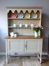 Antique Hand Painted Solid Oak Grey Welsh Open Dresser Cupboard Kitchen Unit