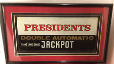 Vintage Professionally Framed Presidents Slot Machine Glass Casino Art