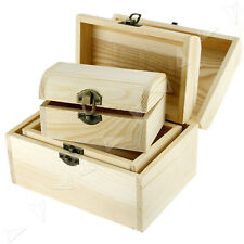 3Pcs Wooden Boxes Storage Trinket Jewellery Keepsake Memory Craft Box Case