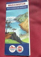 1953 Washington  road  map Chevron  oil gas Lake Chelan  cover booklet