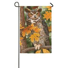 Great Horned Owl Fall Autumn Oak Leaves Small Garden Flag Evergreen Satin