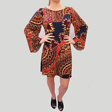 Wallis Multi Paisley Oriental Print Kimono Sleeve Tunic Style Dress Small -10 UK