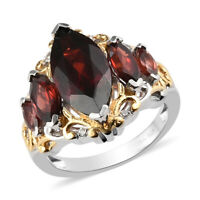 925 Sterling Silver Platinum Over Garnet Promise Ring Jewelry Gift Size 9 Ct 5.4