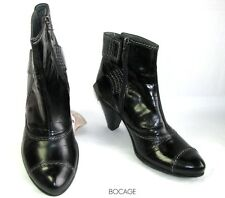 BOCAGE BOOTS HEELS 7.5 CM ORIGINAL LEATHER Iced BLACK 37 PERFECT CONDITION & BOX