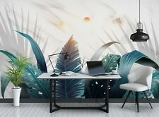 New Listing3D Blue Leaves Sun Zhua8175 Wallpaper Wall Murals Removable Self-adhesive Amy