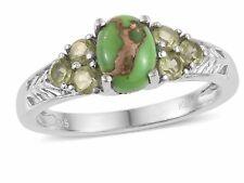 Mojave Green Turquoise, Hebei peridot Platinum Bond Brass 7 Stone Ring
