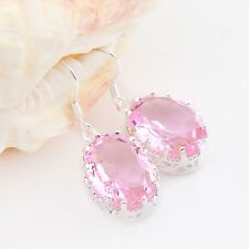 Romantic Lovely Woman Sweet Pink Topaz Gems Silver Dangle Hook Earrings 1.5 Inch