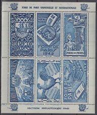 France Paris Fair 1942, Vignette, Sailing Ship, Stamp Collecting,  Cock, Dk Blue