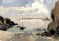 FRED MARSHALLSAY Watercolour Painting BOATS OFF COASTLINE - IMPRESSIONIST