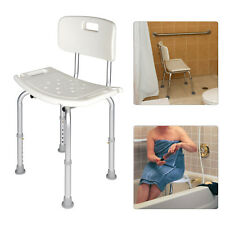 Adjustable Height Disability Shower Bath Seat Chair Stool Bench With Backrest
